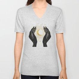 Gold La Lune In Hands Unisex V-Neck