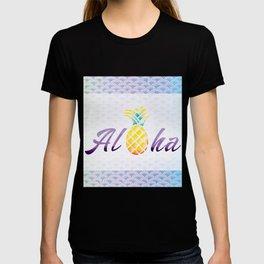 Aloha Mermaid Scales Watercolor Pineapple T-shirt