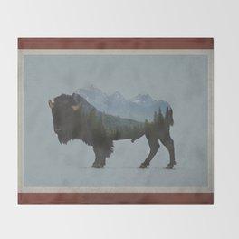 Wyoming Bison Flag Throw Blanket