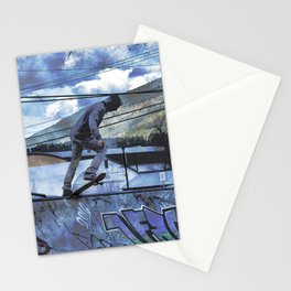 Tipping Point -Skateboarder Launching - Outdoor Sports Stationery Cards