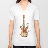 vinyl V-neck T-shirts featuring Vinyl by katieellen