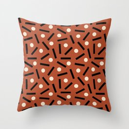 Postmodern Sticks + Stones in Terracotta Throw Pillow
