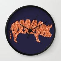 bacon Wall Clocks featuring bacon by nino benito