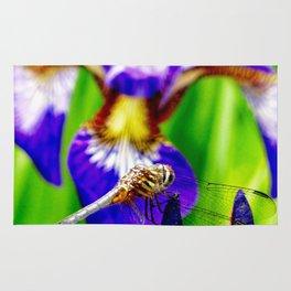 Dragonfly on purple English iris Rug