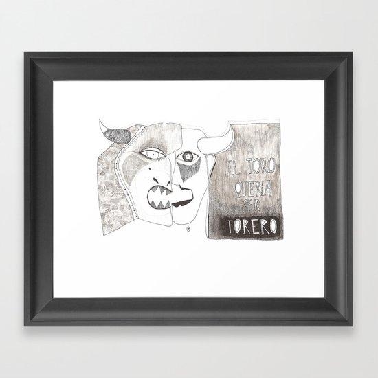El toro que quería ser torero Framed Art Print