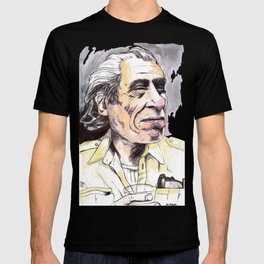 Charles Bukowski portrait in watercolor and ballpoint by McHank T-shirt