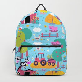 Farm Life Pink Pastel Barn Animals Pattern Backpack
