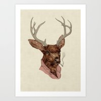 charlie Art Prints featuring Charlie by Animal Crew