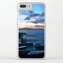 Tardis On The Sea Stone Clear iPhone Case
