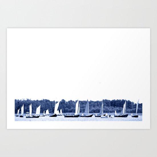 Dutch sailing boats in Delft Blue colors by zenz