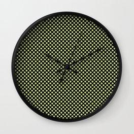 Black and Daiquiri Green Polka Dots Wall Clock