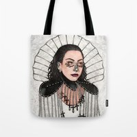 heavy metal Tote Bags featuring Heavy Metal Venus by Helen Green