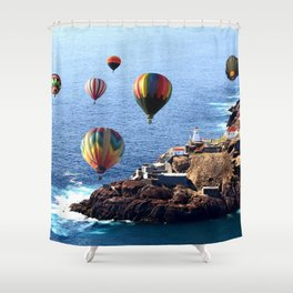 Flying Colorful Hot air Balloons over Newfoundland Shower Curtain