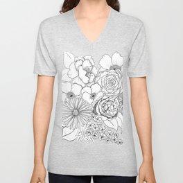 Flower Bouquet Black and White Illustration Unisex V-Neck