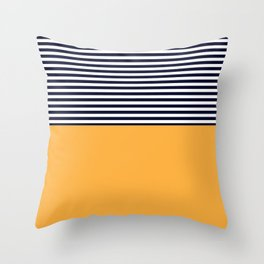 Mustard & Navy Blue Half Striped Throw Pillow