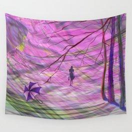 Windy, rainy day. Autumn, evening. Wall Tapestry