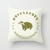 hufflepuff Throw Pillows featuring Hufflepuff House by Shelby Ticsay