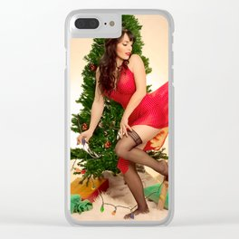 """""""Tree Trouble"""" - The Playful Pinup - Christmas Tree Pin-up Girl by Maxwell H. Johnson Clear iPhone Case"""