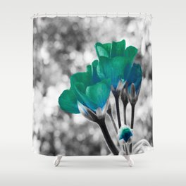 Teal Turquoise Flowers Shower Curtain