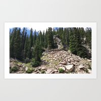 Summer in the Rockies- Rocky Mountain Side with Sub Alpine Firs Part Two Art Print