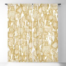just chickens gold white Blackout Curtain