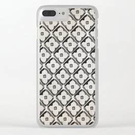 Moroccan Boho Black & White Pattern Clear iPhone Case