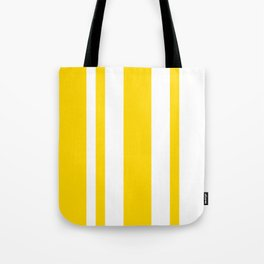 Mixed Vertical Stripes - White and Gold Yellow Tote Bag
