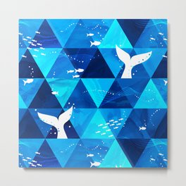 Blue Whale Singing Metal Print