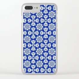 Sapphire Blue Floral Clear iPhone Case