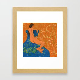 Nude on Blue Couch Framed Art Print