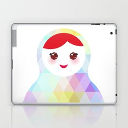 Russian doll matryoshka with bright rhombus on white background, rainbow pastel colors Laptop & iPad Skin