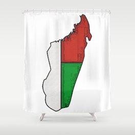 Madagascar Map with Malagasy Flag Shower Curtain