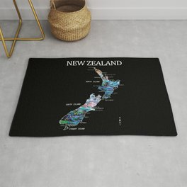 NEW ZEALAND MAP DETAILED PAUA Rug