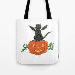 Pirate-Bat-Cat { + Pumpkin Pal Jack O Lantern . Halloween }   Tote Bag