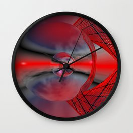 red sky in a glass Wall Clock