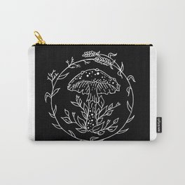 Floral Lavender Wreath Mushroom Design Carry-All Pouch