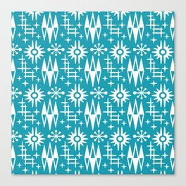 Mid Century Modern Atomic Space Age Pattern Turquoise Canvas Print