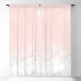 Blush Pink on Gray and White Marble II Blackout Curtain