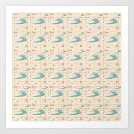Mid Century Boomerangs in textured Blush Pink and Blue Art Print
