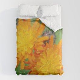 Bright Yellow and Orange Flowers Comforters