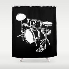Drum Kit Rock Black White Shower Curtain