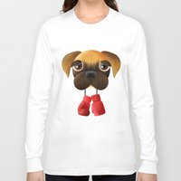 boxer Long Sleeve T-shirts featuring Boxer by Sloe Illustrations
