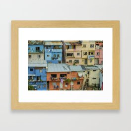Colorful Houses on a Hill Framed Art Print