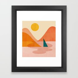 Abstraction_Lake_Sunset Framed Art Print