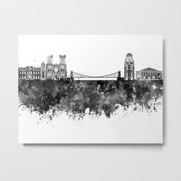 Bristol skyline in black watercolor Metal Print