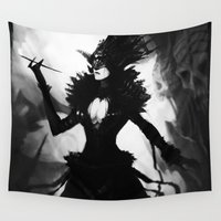 dress Wall Tapestries featuring Black Dress by SMG Gallery