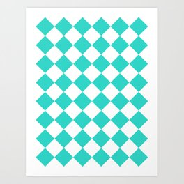 Large Diamonds - White and Turquoise Art Print