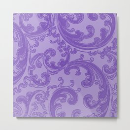 Retro Chic Swirl Purple Metal Print