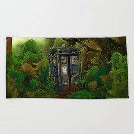 Abandoned Tardis doctor who in deep jungle Beach Towel