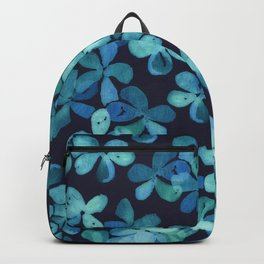 Hand Painted Floral Pattern in Teal & Navy Blue Backpack
